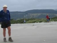 On return along the beach. Peter, Wendy and grandchildren.