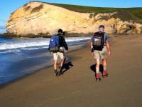 George & Bob H on beach towards Bobbys Head