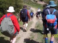 Steep descent. Dorothy, Ray, Evelyn nearest