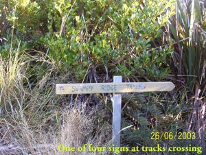 Swampy Ridge Track sign