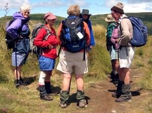 Junction of Swampy with Nicols Creek Tracks. Hazel, Ria, Pat, Ken, Doug M, Lex