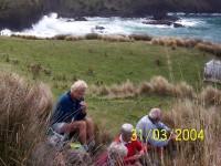 Wave surge. Lunch. Margaret, Who? Bev H, Peter. Old grave.