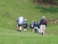Down to skirt bottom of steep face. Glenice, Hazel, Doug, Pat, Bill, Graham