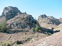 Rock outcrops above track