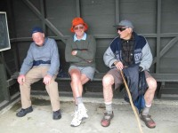 Bus Shelter. Fred, Les, George.