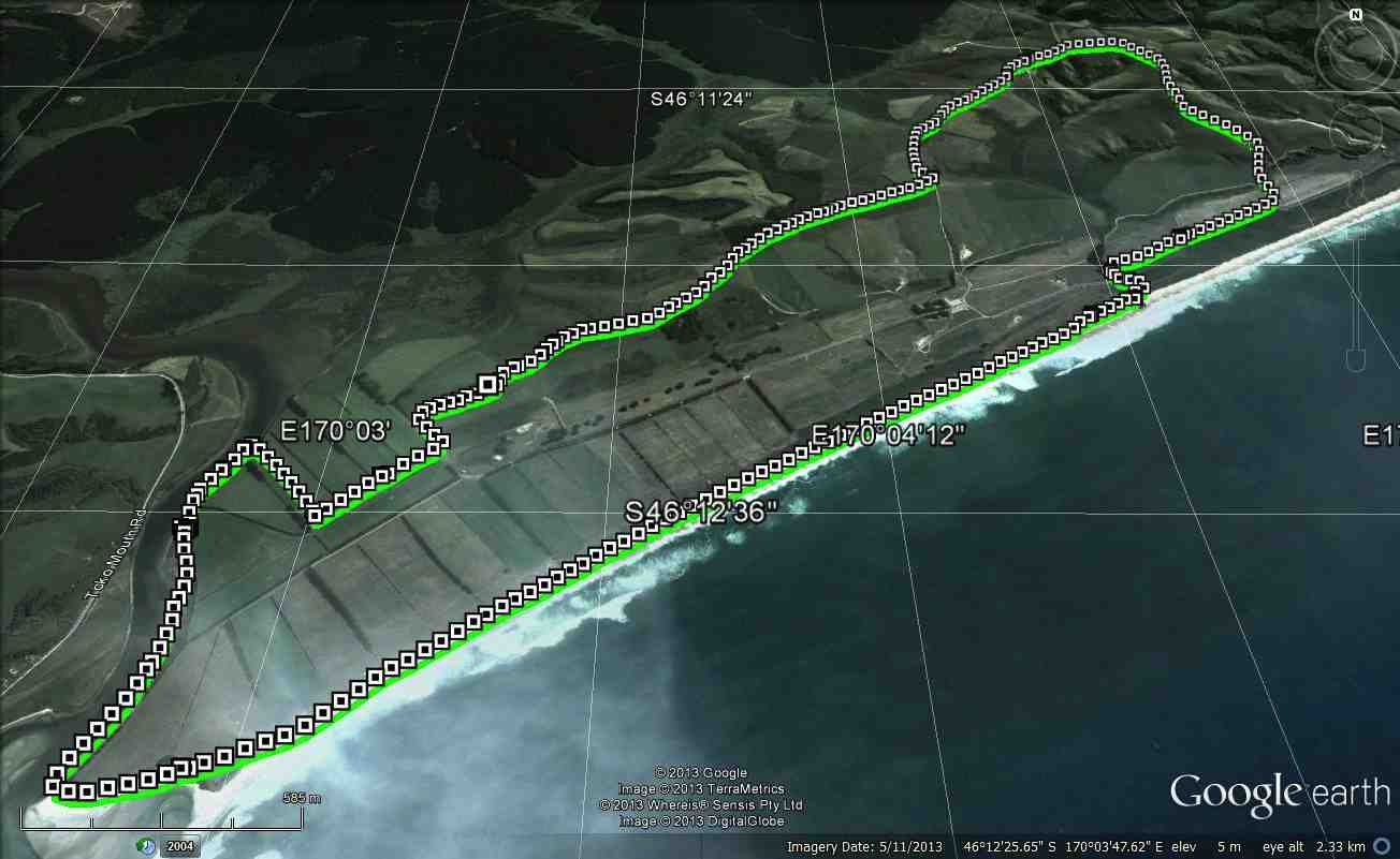 Chrystalls Beach Circuit. GPS of route courtesy Ken.