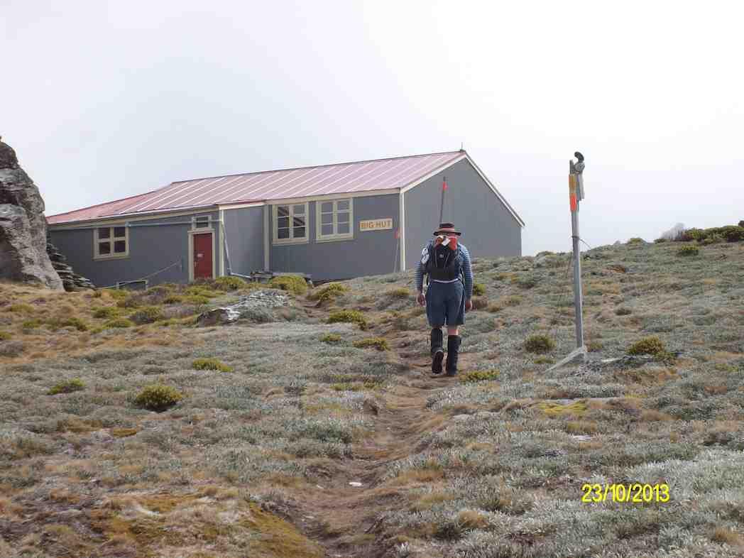 Ian approaching Big Hut. (Ken pic and caption)
