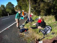 Hikers' lunch at the car park on Mt Cargill Road