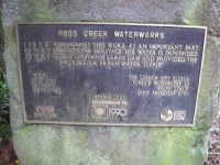 Plaque. Ross Creek Water Works. (Jphn pic)